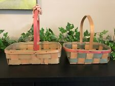 2 Vintage Easter Baskets Pink Green Rectangular Woven Nail Head 1950