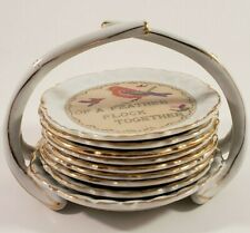 Ardalt Porcelain Coaster Set Gold Trim 8 pc Cross-Stitch Vintage Wise Sayings