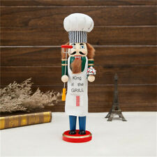 Grill Chef Wooden Nutcracker Kitchen Walnut Soldier Christmas Ornament Gift 38cm