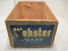 VINTAGE WOOD-WOODEN WEBSTER PEAR FRUIT CRATE BOX ADVERTISING