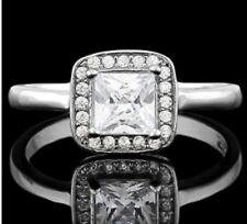 DIAMOND HALO ENGAGEMENT RING BRIDAL SILVER WHITE GOLD   F- IF  1,52 CWT