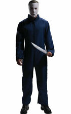 Michael Meyers Costume 2 Pc Navy Zip Front Overalls W/ Latex Face Mask Plus Size