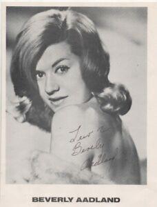 10 x 8   hand signed PHOTO,BEVERLY AADLAND 1942-2010 - AFTAL COA  -DEDICATED