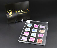 NUMIS Single 12 Stamp Holder, Case, Slab, Protection, Acrylic 185mm by 129mm