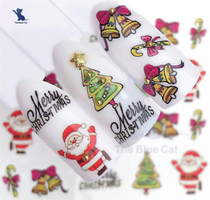 Nail Art Water Decals Transfers Stickers Christmas Santa, Holly Tree Jingle Bell