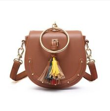 Medium Cute Shoulder Hand Bag Tassels Metal Handle Brown Korean Style