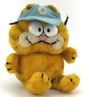 "9"" Vintage 1981 Plush Sitting Garfield w/ Blue Sports Baseball Hat Used"