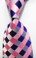 New Classic Checks Pink Blue JACQUARD WOVEN 100% Silk Men's Tie Necktie