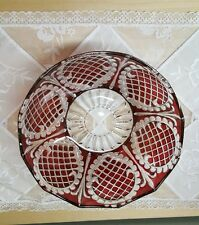 "Vintage Cranberry  8"" Glass Round  Bowl"