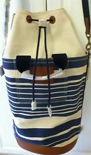 Unisex Coach Heritage Beach Canvas Barrel Tote Travel Bag F71275 Vintage Stripe