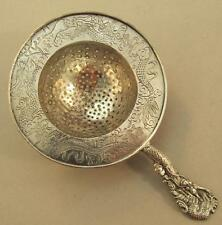 Chinese Export Solid Silver Tea Strainer engraved with Dragons Hang Chow Mei Hwa