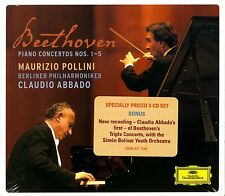 BEETHOVEN.PIANO CONCERTOS.TRIPLE CONCERTO.POLLINI.ABBADO.DGG 3 CD BOX SET.NEW