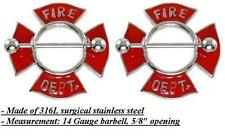 Department Body Jewelry Pair 14 gauge Body Accentz® Nipple Ring Bars Fire
