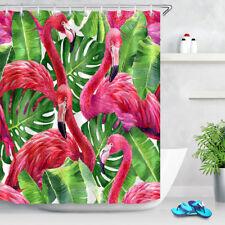 Green Banana Leaves Pink Flamingo Fabric Shower Curtain Set Bathroom Polyester