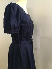 AGNES B BLUE 100% COTTON EMBROIDERED/PLEATED SUMMER SHORT DRESS SIZE 1