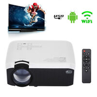 1600 Lumens HD BT-4.0 WIFI Android 1+8G LED Projector Home Theater Remote USB AU