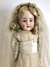 Antique German 22� Kestner 166 Bisque Head Bride Doll