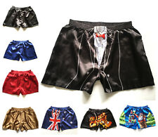 Men's Sleepwear Underwear Satin Silk Boxers Shorts Pants Pyjamas Nightwear S-2XL