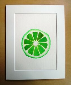 ORIGINAL ART - Lime slice fruit watercolour with mat board