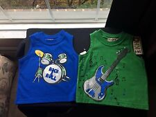 Tank Tops ~ Lot of 2 ~ 12 months ~ Music theme: Guitar and Drum Set ~ NEW!!