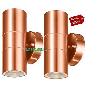 2x Stainless Steel Up Down Wall Light GU10 IP65 Double Outdoor Wall Lights