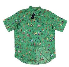 NWT RALPH LAUREN Men Green Big&Tall Linen S/S Shirt Colorful Sailboat Print 2XLT