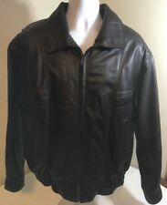 William Barry Dark Chocolate Brown Leather Bomber Jacket Medium Free Shipping