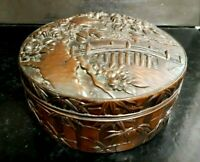 Antique Chinese Bronze Hand Made Metal Box with TREE/PAGODA Embossed Design