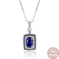 Free Box & Chain Oval Cut Tanzanite 100% S925 Sterling Silver Pendant Necklace