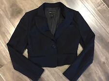 BCBG Max Azria Women's Black Cropped Blazer Jacket Full Sleeves Button Up Medium