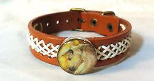 Horse Snap & Leather twine stitched Bracelet 18-20Mm Horse At Sunrise Bubbles!