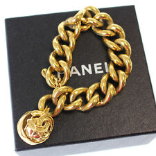 CHANEL CC Logos Belt Chain Gold Bracelet Made In France Vintage Auth #8001 W
