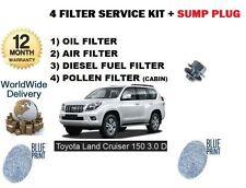 FOR TOYOTA LANDCRUISER 150 3.0DT D4D 2009-> OIL AIR FUEL POLLEN FILTER KIT SUMP