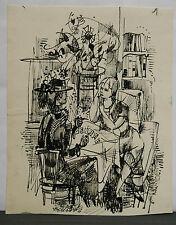 Dessin Original Encre Claude Schürr (1921-2014) Les Cartes 1960 SHU7