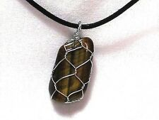 "TIGEREYE GEMSTONE 15 X 27mm WIRE WRAPPED PENDANT ON 20"" BLACK CORD NECKLACE"