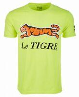Le Tigre Mens T-Shirt Neon Yellow Size XL Crewneck Logo Graphic Tee $39 #284
