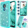 For Motorola Moto G7 Power Supra Bling Shining Powder Case Cover +Tempered Glass