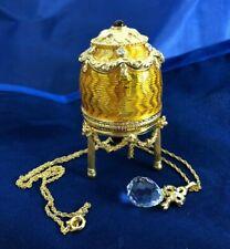 Faberge Good Fortune Gemstone Egg Replica W Swarovski Pendant Original Box