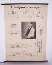 """Rollkarte Lehrkarte """" Schußverletzungen """" Hygiene Museum deko vintage (18"""
