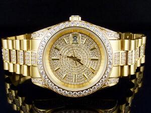 Mens 18K Yellow Gold Steel Simulated Diamond Presidential Watch 41MM PR-01