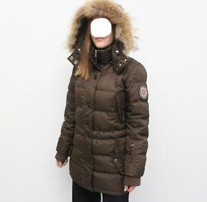 Women's BOGNER FIRE+ICE Long Down Puffer Jacket Coat Real Fur Size 36 S US6 799$