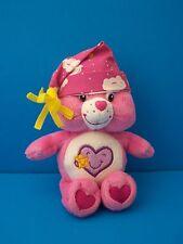 "2004 Care Bears Take Care Pink Heart 7.5"" Bean Bag Plush w/Sleep Bedtime Hat/Cap"
