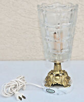 Vintage Glass Brass Marble Table Lamp Cup light Old Nice decor Gilt Elegant