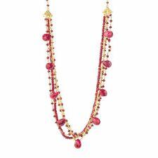 "Mehers Jewelry SS 18"" Multi Shape Opaque Ruby Multi Strand Gemstone Necklace"