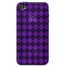 AMZER Purple Luxe Argyle High Gloss TPU Soft Gel Skin Case For iPhone 4