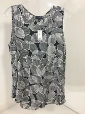 THE LIMITED WOMEN'S SLEEVELESS LEAF PETAL TOP BLACK/WHITE LARGE NWT