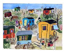 Tableau Moderne Art Naif Paysage au Camps de Gitans Peinture 60/70 Anonyme