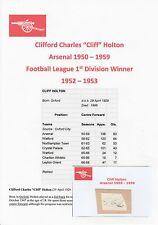 CLIFF HOLTON ARSENAL 1950-1959 RARE ORIGINAL HAND SIGNED CUTTING/CARD
