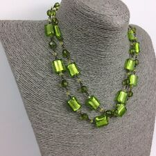 Necklace Green Glass And Plastic Beads Two Strand Antique Finish Chain M&S