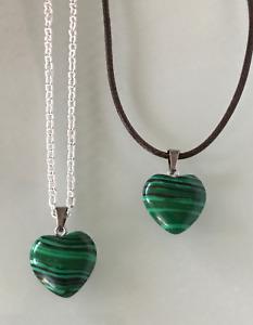 Malachite Crystal Gemstone Love Heart  Pendant Black Cord/Silver Necklace Chain